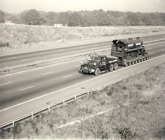 1978 Scammell Contractor hauling an LSWR S15 class steam locomotive from Barry Scrapyard (South Wales) for preservation at the Bluebell Railway (East Sussex)