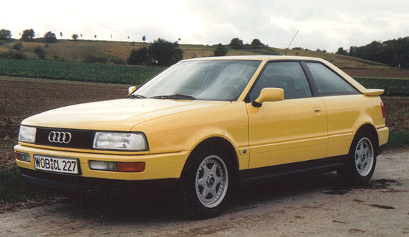 1990 Audi Coupe in ginstergelb