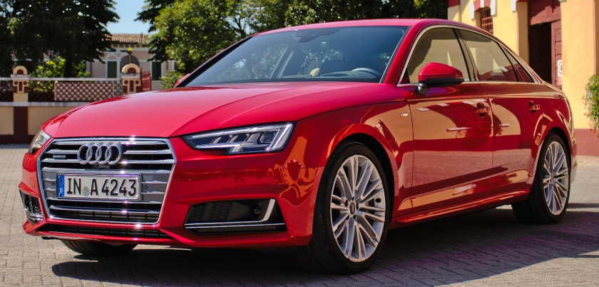 2015 Audi A4 B9 3.0 TDI quattro V6 200 kW S line Tango Red Front View