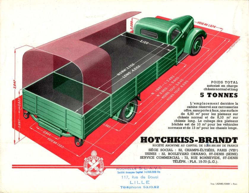 Catalogue camions HOTCHKISS - Brandt DH 50, PL 50 et PL 50-6 (avec cachet