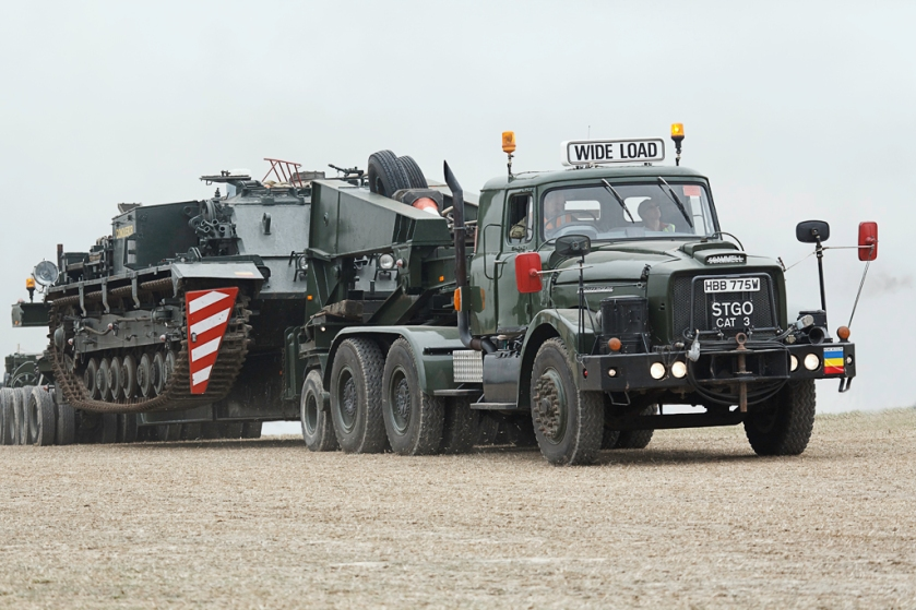 Scammell Contractor hauling a Conqueror ARV2 FV222 Tank Recovery Vehicle