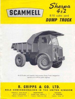 Scammell Sherpa 4x2 8-10 cu. yd Dump Truck original Sales Brochure