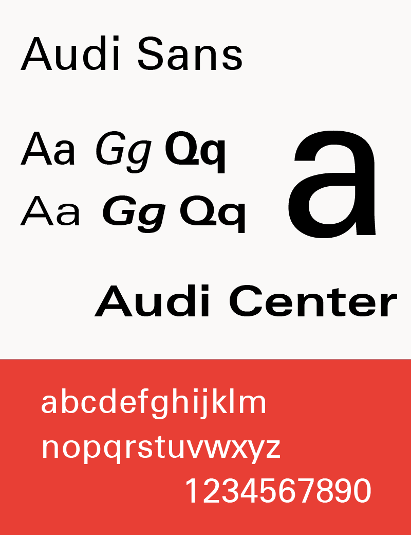 The typeface Audi Sans (used 1997-2009)