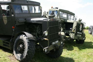 Vintage military scammell lorries at steam rally, Nr Langport, Somerset