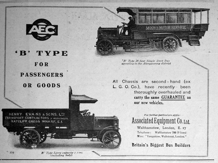 1921 AEC B Type for Passengers or goods Ad