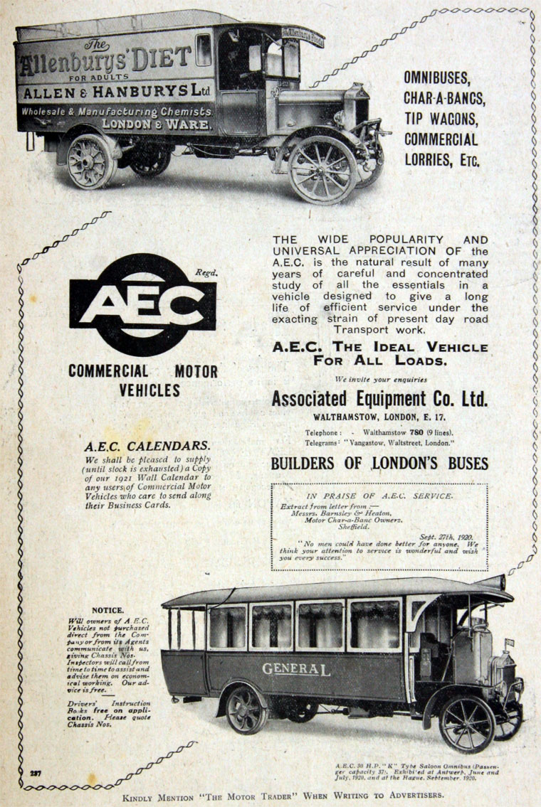 1921 AEC Commercial Motor Vehicles ad