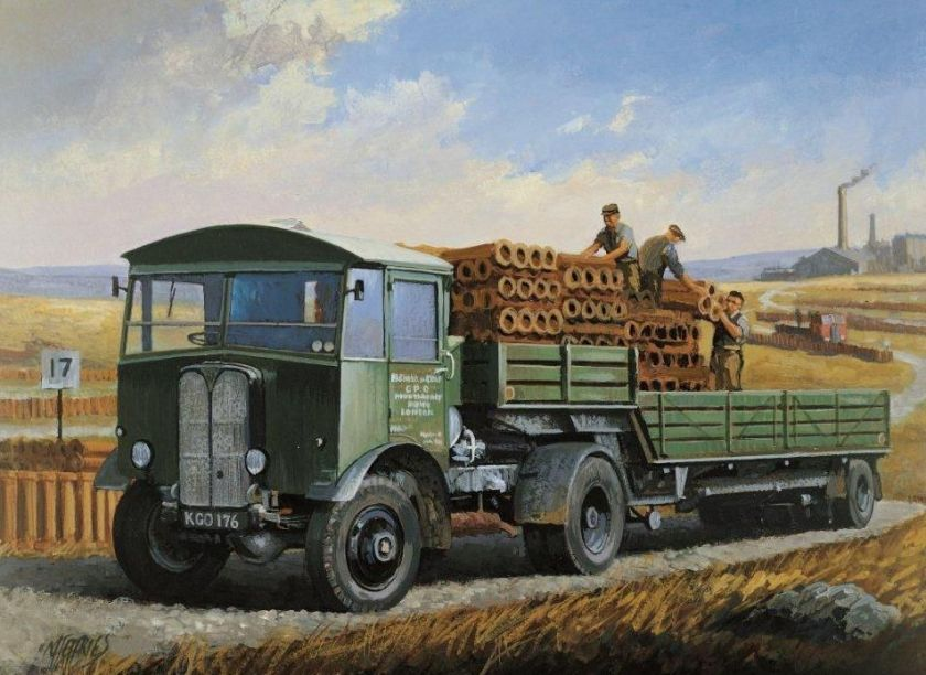1932 AEC Mandator GPO Green Fleet Painting by Mike Jeffries