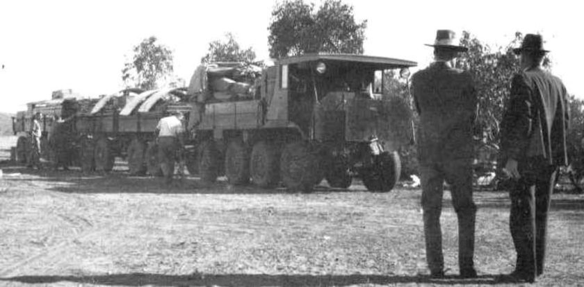 1934 The Reverend John Flynn Inspects The Aec Roadtrain Shortly After Its Arrival Into Alice Springs In 1934