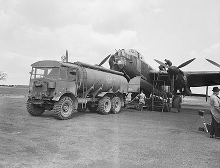 1944 AEC 854 refueling an Avro Lancaster, 1944