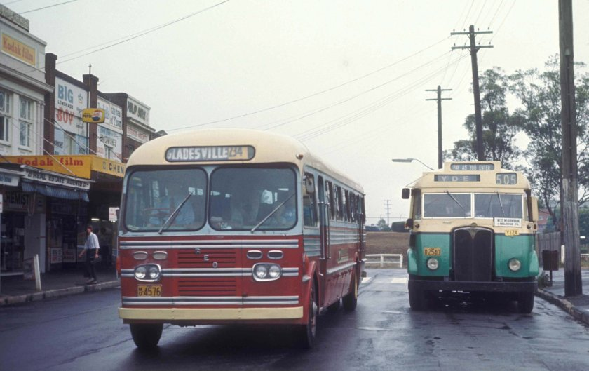 1952 AEC Regal and REO bus to Gladesville 234