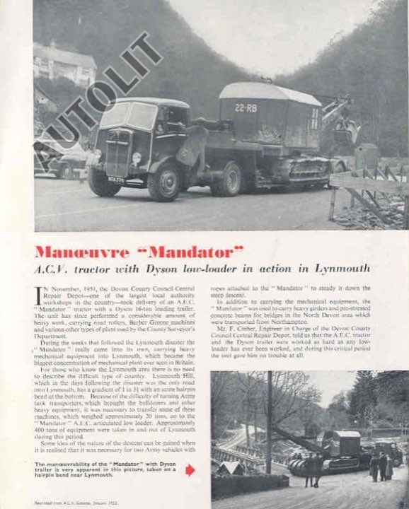 1953 AEC Mandator Truck & Crawler Shovel Brochure