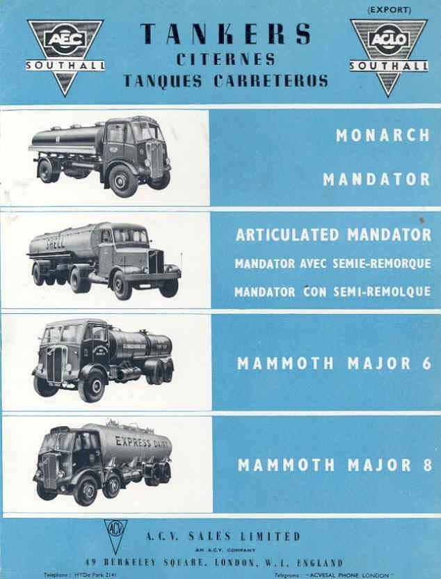1955 AEC Southall Monarch Mandator Tank Truck Brochure wk1569