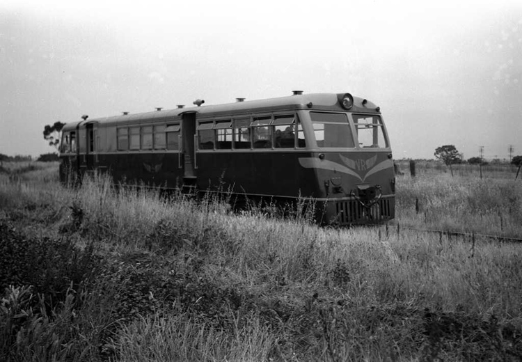 1955-fwk-som-10rm 102hp Walker 10RM substitutes for the regular AEC railmotor between Fawkner and Somerton