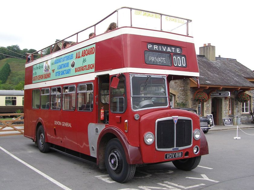 1957 built AEC Regent V bus (VDV 818) A Devon General