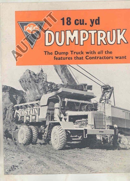 1962 AEC 18 Cubic Yard Construction Dump Truck Brochure