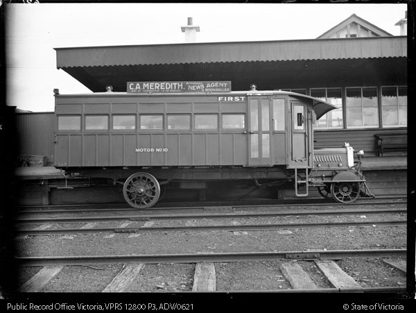 AEC RAILMOTOR No.10 SIDE VIEW WITH ADVERTISEMENT FOR C A MEREDITH NEWS AGENT - Public Record Office Victoria