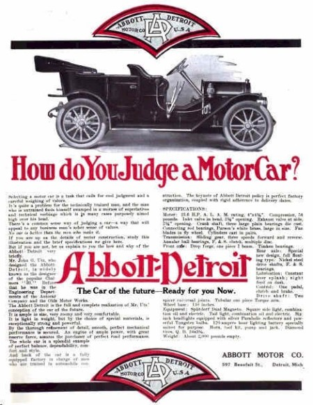 1910 Abbott-Detroit Automobile Advertisement