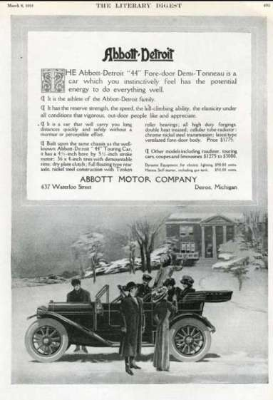 1912 Abbott-Detroit Detroit, Michigan Advertising 1912