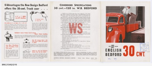 1934-1936 New design WS Bedford 30 cwt truck sales brochure
