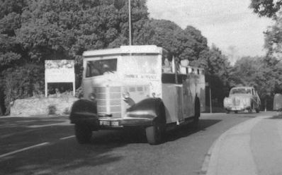 1942 Bedford OB open top single decker, believed to be FRU101, a 1942 Bedford OWB with Duple B32F body, rebuilt to OB28F in 1953