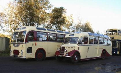 1947 Bedford OB with Duple body originally numbered 646 from 1947 while the full size coach is CUG27, 8124WX, a 1961 Bristol MW6G with ECW body