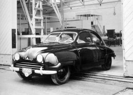1949 Saab 92 coming out of the factory (first car was out December, 1949)