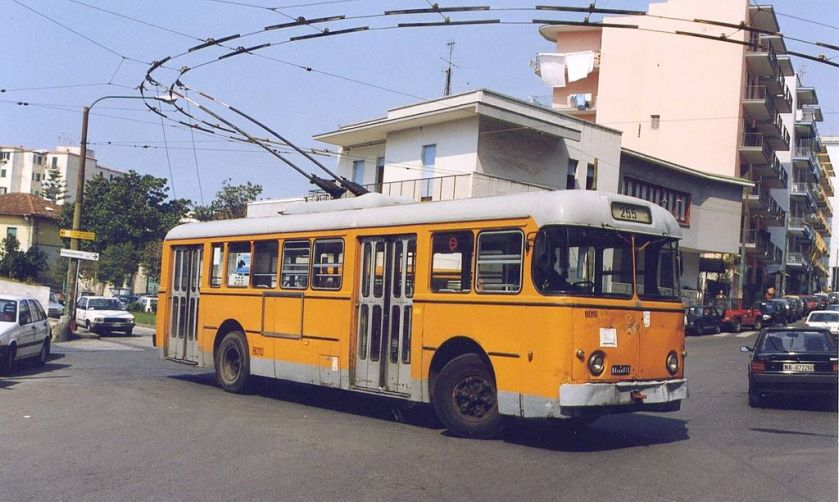 1961 Alfa Romeo 1000F trolleybus No. 8010 of the Naples trolleybus system in Torre del Greco