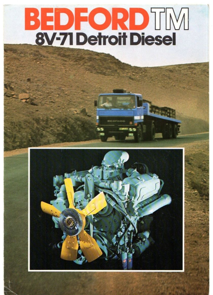 1976-77 Bedford TM 8V-71 Detroit Diesel UK Market Foldout Sales Brochure