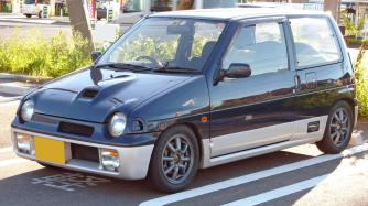 1990-1991 Suzuki Alto Works (CN21), on aftermarket Watanabe Minilite-style alloys