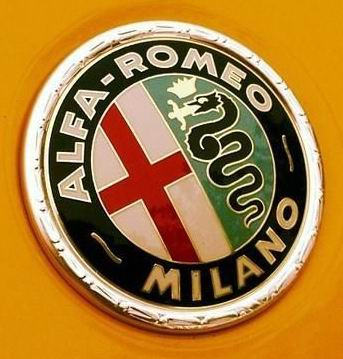 Alfa Romeo logo on yellow