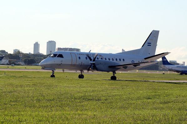 Argentine Air Force aircraft FAA Saab 340 T-34 at Aeroparque Jorge Newbery Airport