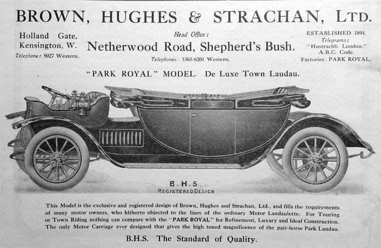 Brown, Hughes and Strachan Ltd Park Royal Model De Luxe Town Landau. BHS The Standard of Quality