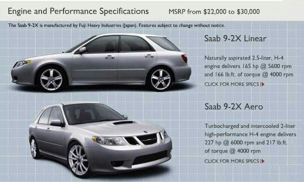 Engine & Performance Specifications For The Saab 9-2x Linear & The 9-2x Aero