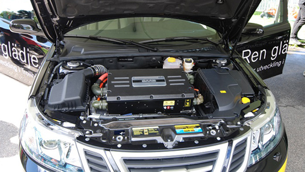 saab 9-3 Electric Vehicle under the hood